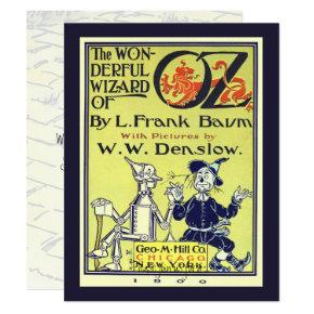 Vintage Wizard of Oz Book Cover Art Birthday Party Invitation