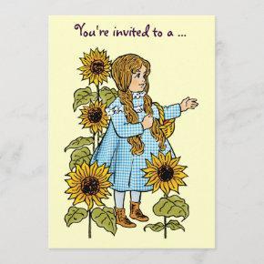Vintage Wizard of Oz Dorothy, Girl Birthday Party Invitation