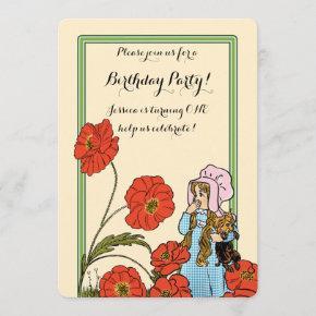 Vintage Wizard of Oz, Dorothy, Girl Birthday Party Invitation