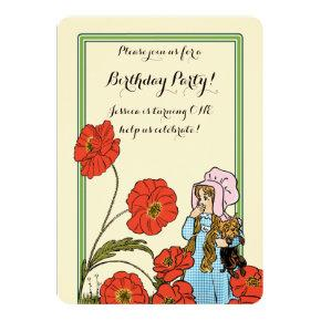 Vintage Wizard of Oz, Dorothy, Girl Birthday Party Invitation