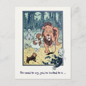 Vintage Wizard of Oz, Lion Boy Birthday Party Invitation