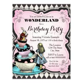 Vintage Wonderland Birthday Party Invitations