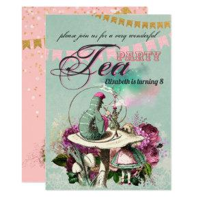 VINTAGE Wonderland Tea Party Alice Pink Gold Invitation