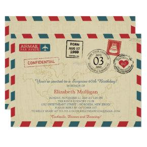 Vintage World Traveler Airmail Birthday Party Invitation