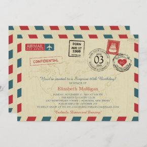 Vintage World Traveler Airmail Birthday Party Invitation