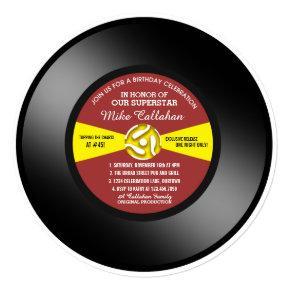 Vinyl 45 Record Birthday Party Invitation