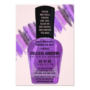Violet Pink Glitter Nail Polish Spa Day Birthday Invitation