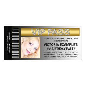VIP Pass Ticket Style Birthday Party Invitations