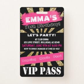 VIP Pink & Gold Any Event Pass Custom Wording Badge