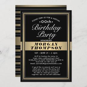 Virtual Any Birthday Black Gold and White Party Invitation