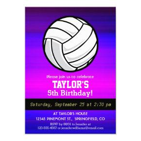 Volleyball; Vibrant Violet Blue and Magenta Invitation