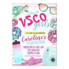 VSCO Birthday invitation, VSCO girl birthday invit Invitation
