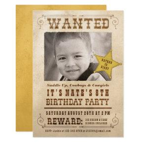 Wanted Poster Cowboy Western Birthday Party Invitation