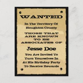 Wanted Poster  Fun Western Cowboy Party
