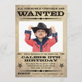 Wanted Poster Kids Party Invitation