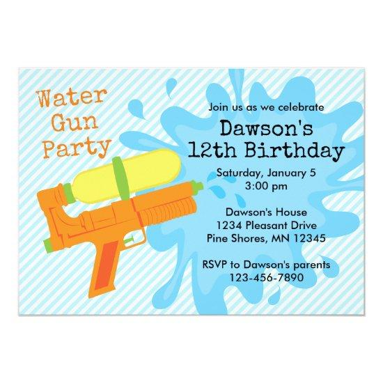 Water Gun Boy Birthday Party Invitations Candied Clouds