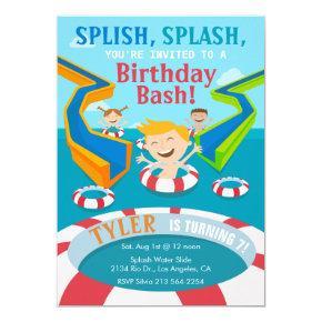 Water Park Boys Swimming Birthday Party Invitation