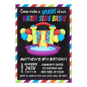 Water Slide Party Invitation Summer Birthday Party