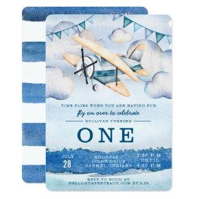 Watercolor Airplane Boy Birthday Party Invitations