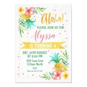 Watercolor Aloha Luau Birthday Invitations