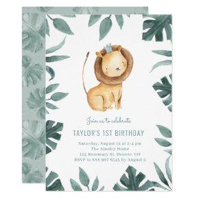 Watercolor Baby Lion Prince Greenery Birthday Invitation