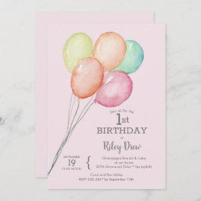 Watercolor Balloons Pink 1st Birthday Invites