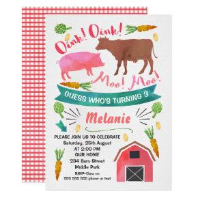 Watercolor Barnyard, Farmyard Birthday Invitation