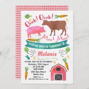 Watercolor Barnyard, Farmyard Birthday Invitation