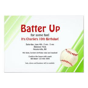 Watercolor Baseball Invitations