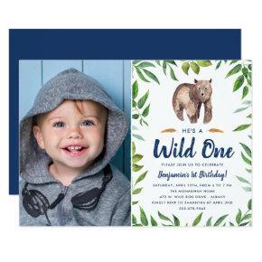 Watercolor Bear Wild One | Photo Birthday Party Invitation