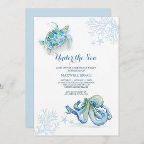 Watercolor Birthday Invitation Under The Sea