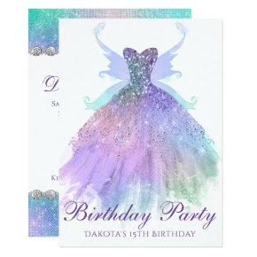Watercolor Birthday Party Sparkle Gown Pixie Wing Invitation