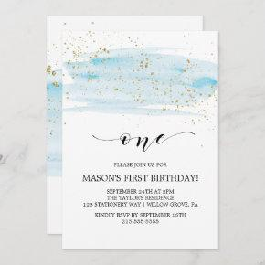 Watercolor Blue & Gold Sparkle First Birthday Invitation