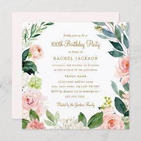 Watercolor Blush Gold Floral 100th Birthday Invite
