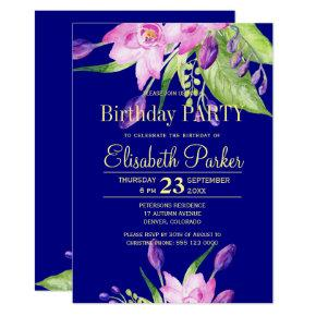 Watercolor blush pink navy floral birthday party Invitations