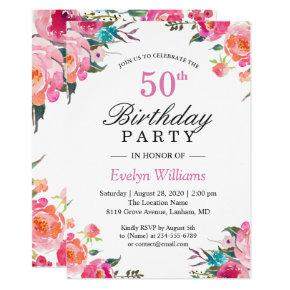 Watercolor Botanical Floral Wreath Birthday Party Invitation