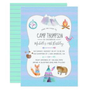 Watercolor Camping Birthday Party Invitation
