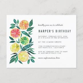 Watercolor Citrus Modern Birthday Party Invitation