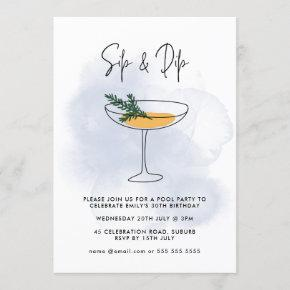Watercolor Cocktail Pool Party 30th Birthday Invitation