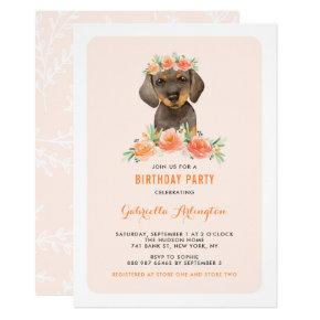 Watercolor Dachshund Peach Florals Dog Birthday Invitation