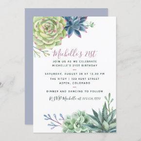 Watercolor Desert Cactus Succulents 21st Birthday Invitation