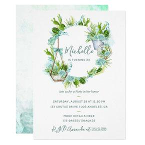 Watercolor Desert Cactus Succulents Birthday Party Invitation