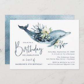 Watercolor Dolphin & White Floral Birthday Party Invitation