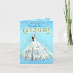 Watercolor Dress Royal Blue Gold Quinceanera Fancy Invitation