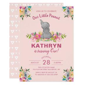 Watercolor Elephant Pink Floral Girl 1st Birthday Invitations