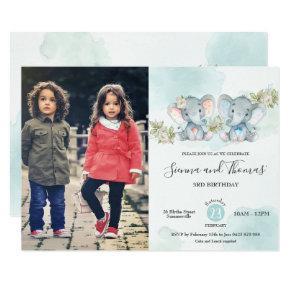 Watercolor Elephant Twins Boy Girl Birthday Photo Invitation