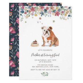 Watercolor English Bulldog Floral Birthday Party Invitation