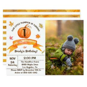 Watercolor Fall Leaves Pumpkin Birthday Photo Invitations