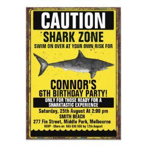 Watercolor Fin-tastic Shark Birthday Invitation