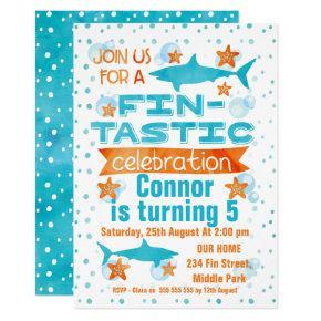 Watercolor Fin-tastic Shark Birthday Invitations
